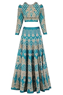 Teal Green Embroidered Lehenga and Crop Top Set
