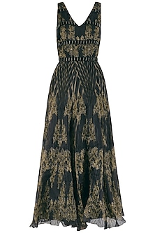 Black and Gold Pleated Embroidered Maxi Dress
