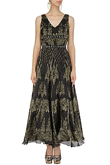 Black and Gold Pleated Embroidered Maxi Dress by Intri Printi By Pooja Solanki