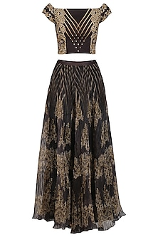 Black and Gold Pleated Skirt with Embellished Crop Top