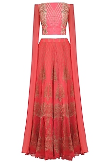 Candy Pink Embellished Crop Top and Skirt Set by Intri Printi By Pooja Solanki