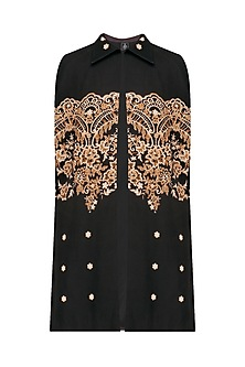 Black Signature Print Lace Cape