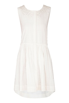 White Hand Embroidered High-Low Dress by Irabira