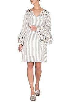 Grey & White Hand Embroidered Ruffled Dress by Irabira