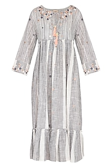 Grey & White Hand Embroidered Floral Striped Dress by Irabira