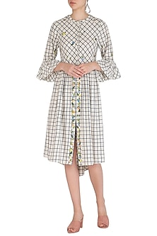White Checkered Dress With Floral Embroidery  by Irabira
