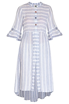 Indigo Long Line Linen Tunic by Irabira