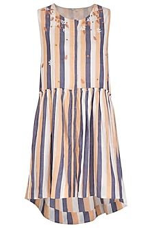 Ochre Embroidered Striped Dress by Irabira