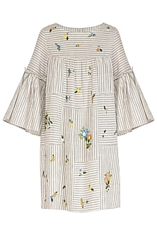 Indigo Floral Embroidered Striped Dress by Irabira