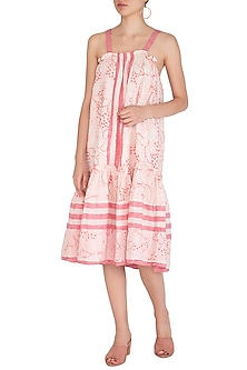 Red Embroidered Longline Dress by Irabira