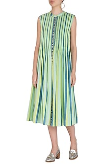 Green Pleated, Striped & Embroidered Dress With Inner Slip by Irabira