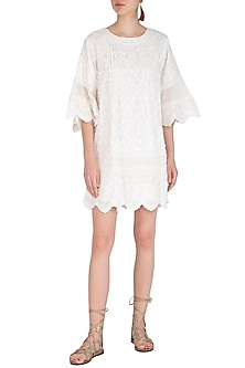 White 3D Floral Broderie Tunic by Irabira