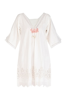 White Tasseled Broderie Tunic by Irabira