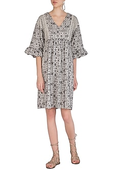 Grey Embroidered Broderie Tunic by Irabira