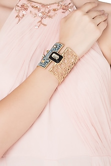 Gold Plated Black Glass, Mirror and Pearls Hand Cuff