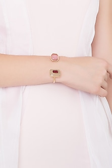 Gold Plated Pink Glass and Marsala Quartz Hand Cuff by Isharya