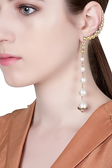 Gold Plated Pearl and Zircons Empress Warrior Earrings by Isharya