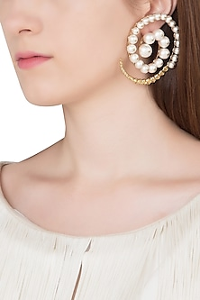 Gold Plated Pearl and Zircons Empress Warrior Swirl Earrings