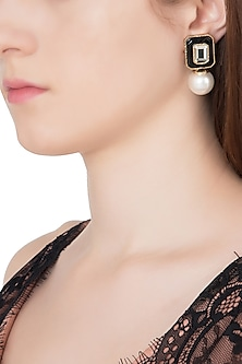 Gold Plated Black Glass, Mirror and Pearl Drop Earrings