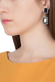 Gold Plated Black Glass and Mirror Drop Earrings