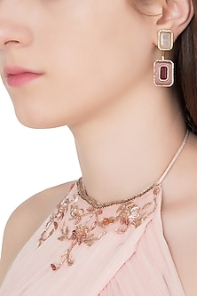 Gold Plated Pink Glass, Grey Onyx and Marsala Quartz Drop Earrings