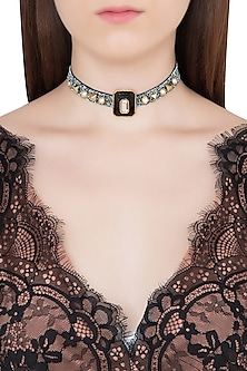 Gold Plated Black Glass, Mirror and Pearls Choker Necklace