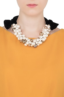 Gold Plated Pearls and Multi-Coloured Stone Cluster Necklace