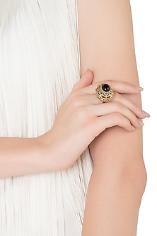Gold Plated Black Mirror Ring