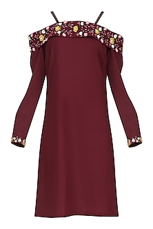 Wine Off Shoulder Embroidered Dress