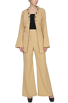 Gold Jacket with A Line Trousers by Isha Singhal