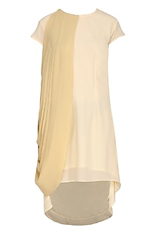 Beige One Side Drape Dress