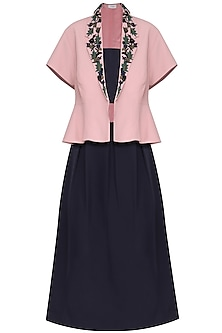 Pink Umbrella Shrug with Black Skirt by Isha Singhal