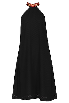 Black Razor Cut A-Line Dress