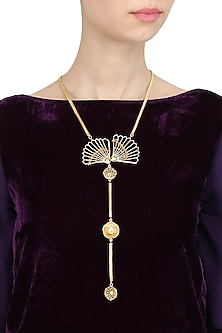 Gold Finish Fan Motif Tie Necklace