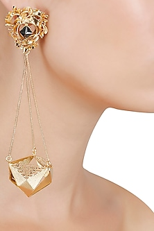 Gold Finish Geometric Shape Jhumki Earrings