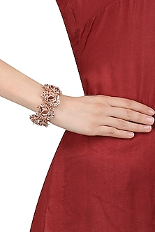 Rose Gold and Silver Finish 3D Floral Motif Bracelet