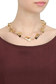 Gold Finish Abstract Shape Necklace