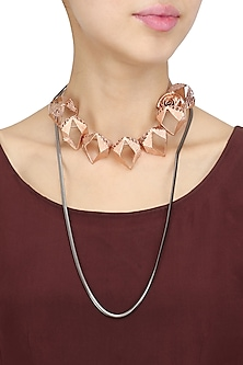 Rose Gold Finish Abstract Shape and 3D Flower Motif Necklace