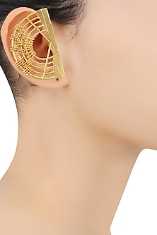 Gold Plated Weaved Ball Chain Semi Circle Earcuffs