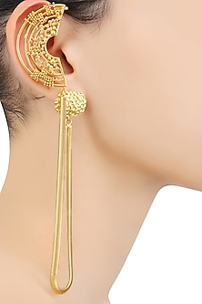 Gold Plated Weaved Ball Chain Semi Circle Attached Chain Earcuffs