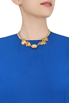 Gold Plated Weaved Ball Chain Semi Circle Geometric Textured Motifs Necklace