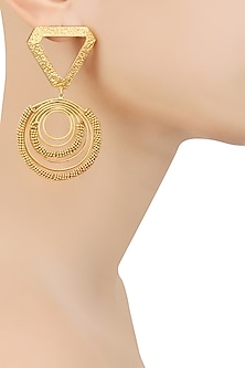 Gold Plated Textured Triangle Top and Spiral Round Motifs Earrings