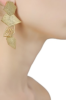 Gold Plated Textured Geometrical Shaped Drop Earrings