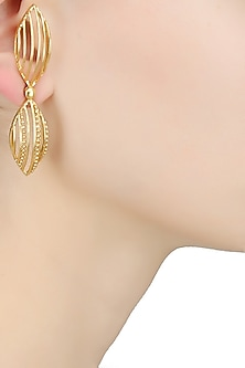 Gold Plated Dual Marquise Shaped Drop Earrings