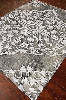 Green Hand-Knotted Damask Rug by Jaipur Rugs