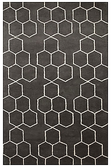 Grey & Black 100% Wool Textorous Rug by Jaipur Rugs
