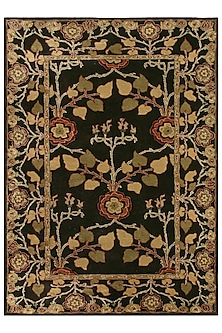 Grey & Black 100% Wool Floral Rug by Jaipur Rugs