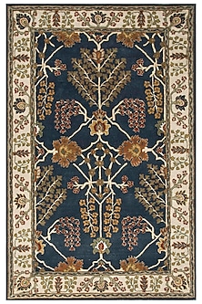 Blue 100% Wool Oriental Rug by Jaipur Rugs