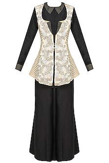 Beige Floral Embroidered Jacket With Black Shirt And Palazzo Pants