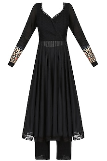 Black Resham Embroidered Anarkali Set